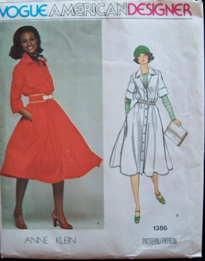 Vintage 70�s Vogue  1386 American Designer Anne Klein  Flared Skirt Shirt Dress Pattern Uncut