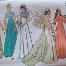 Vintage 70's Simplicity 6160 Princess High Neck Wedding Gown  Bridesmaid Dress Pattern Uncut