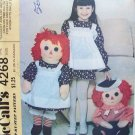 "Vintage McCall's 4268 Raggedy Ann and Andy 36"" Stuffed Doll Pattern Uncut"