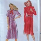 Retro 80s Butterick 3323 Pleated Front Shirtdress Pattern Front Button Uncut Size 12