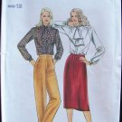Vintage 70s Butterick  3359 Jabot Blouse Straight Skirt Tapered Pants Pattern Uncut Size 12