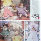 Vogue 2592 Baby Doll Wardrobe Pattern  For Small and Large Dolls Uncut