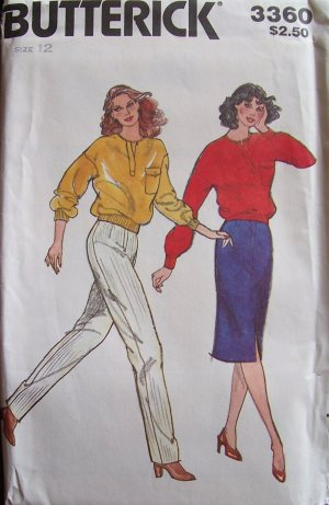 Vintage Buterick  3360 Round Neck Top Straight Skirt Tapered Pants Pattern Uncut Size 12