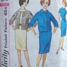 Vintage 60s Simplicity 4613 Roll Collar Dress Kimono Sleeve Box Jacket Pattern Size 12