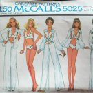 Vintage 70s McCall's 5025 Embroidered Swimsuit Shirt Wide Leg Pants Pattern Uncut Size 12