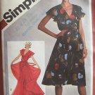 Vintage 80s Simplicity 9870 Surplice Ruffle Collar Evening Dress Pattern Uncut Size 12