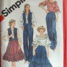 Retro 80s Simplicity 5335 Ruffled Prairie Skirt Raglan Sleeve Peasant Blouse Pattern Uncut