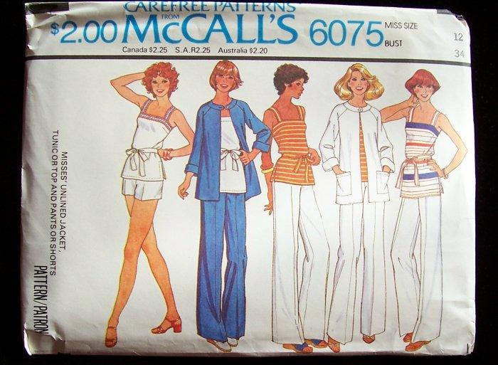 Vintage 70s McCall�s 6075 Raglan Sleeve Jacket Tunic Top Pants or Shorts Pattern Uncut