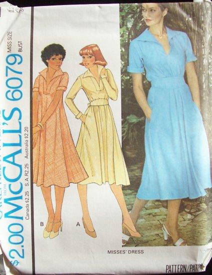 Vintage 70s McCall�s 6079 Bias Cut Pullover Dress Pattern V-Neckline Collar Side Pockets Uncut