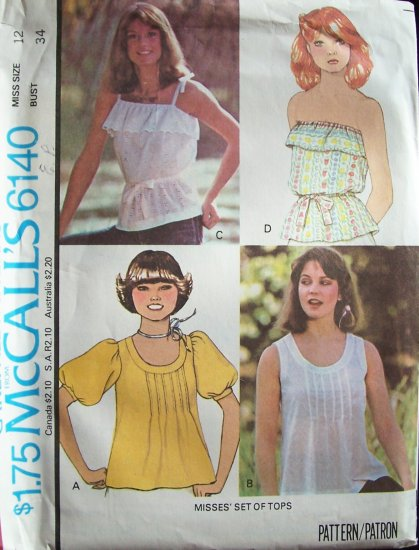Vintage 1978 McCall�s 6140 Four Style Summer Tops Pattern Pullover and Strapless Uncut Size 12