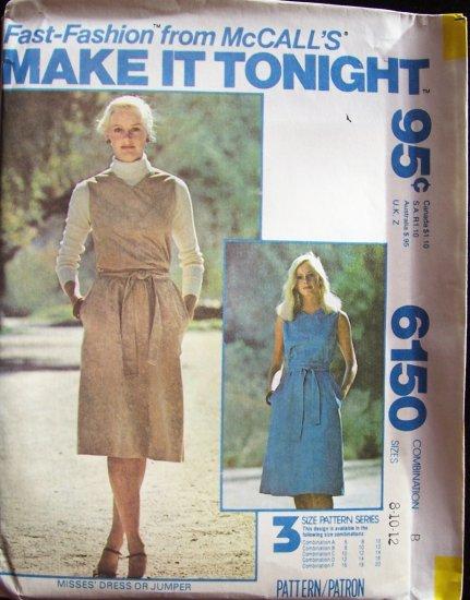 Vintage 70s McCall�s 6150 Sleeveless Jumper Dress Pattern Uncut Size 8-12