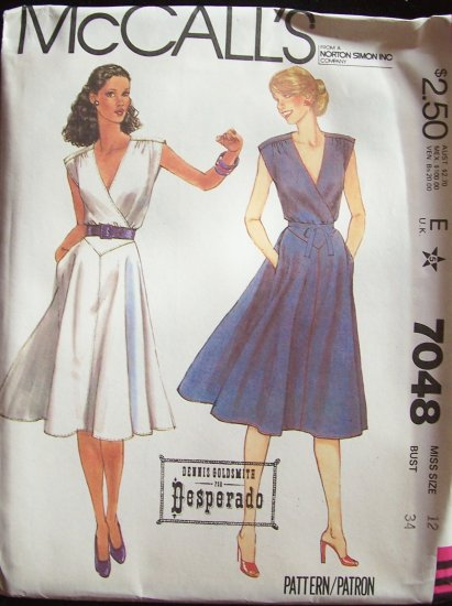 Vintage 1980 McCall�s 7048 Surplice Wrap Front Dress Pattern Flared Skirt Sleeveless Uncut Size 12