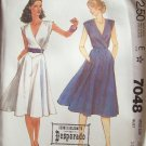 Vintage 1980 McCall's 7048 Surplice Wrap Front Dress Pattern Flared Skirt Sleeveless Uncut Size 12