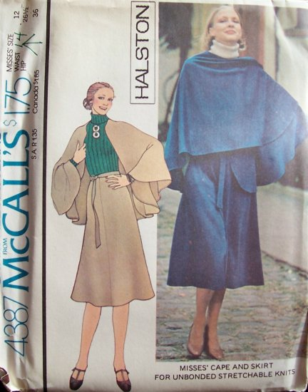 Vintage 1975 McCall�s 4387 Halston Cape and Skirt Sewing Pattern Uncut Size 12