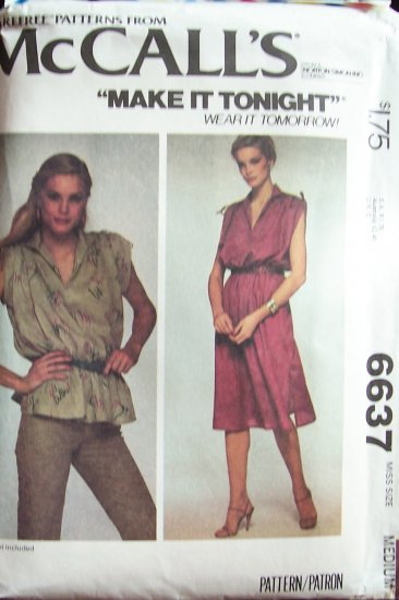 Vintage 70�s McCall�s 6637 Sleeveless Dress or Top Sewing Pattern Uncut Size 14-16