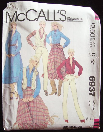 Vintage 1980�s McCall�s 6937 Western Vest Prairie Skirt and Pants Pattern Uncut Size12