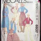 Vintage 1980's McCall's 6937 Western Vest Prairie Skirt and Pants Pattern Uncut Size12