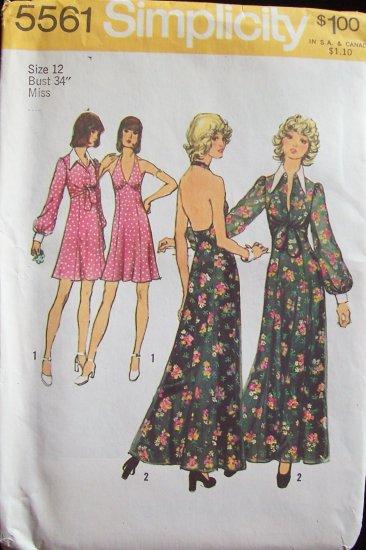 Vintage 70s Simplicity 5561 Halter Evening Dress and Jacket Pattern Uncut Size 12