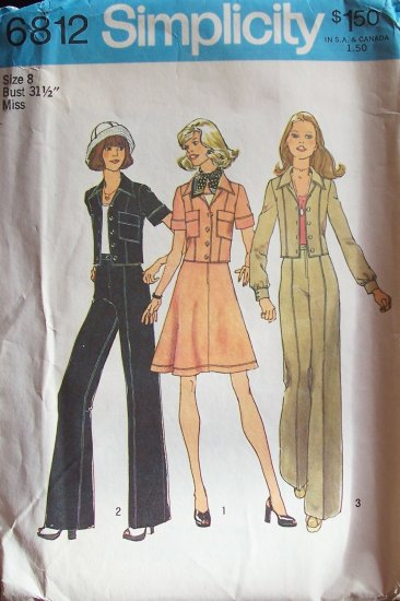 Vintage 70s Simplicity 6812 Cropped Jacket Short Skirt and Pants Pattern Uncut Pantsuit