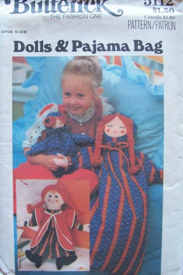 Vintage 70�s Butterick 5112 Doll and Pajama Bag and Embroidery Pattern Uncut