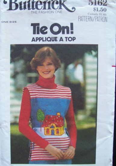 Vintage 1970�s Butterick 5162 Tie on Sandwich Board Top Pattern Appliqué Embroidery Transfer