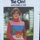 Vintage 1970's Butterick 5162 Tie on Sandwich Board Top Pattern Appliqué Embroidery Transfer