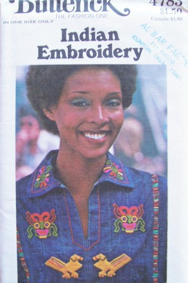 Vintage Butterick 4783 Native American Indian Embroidery Transfer Pattern Uncut
