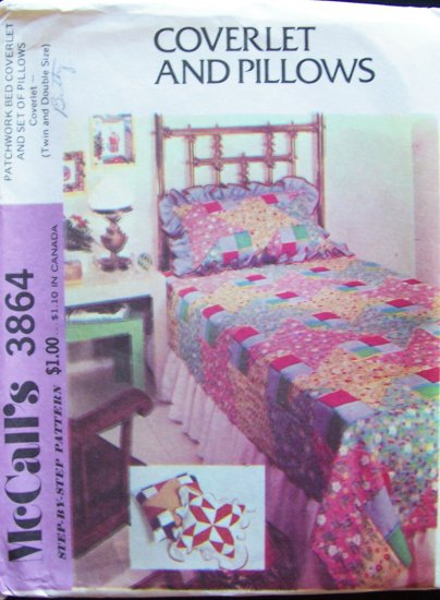 Vintage 70�s McCall�s 3864 Patchwork Bed Coverlet and Pillows Pattern Uncut Twin Double