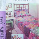 Vintage 70's McCall's 3864 Patchwork Bed Coverlet and Pillows Pattern Uncut Twin Double