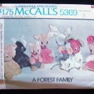 Vintage 70's McCall's 5369 Forest Family Stuffed Animal Pattern Uncut Wolf Skunk Mouse Rabbit