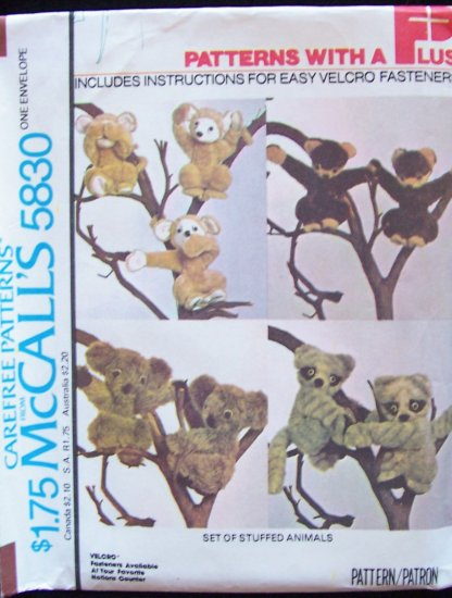 Vintage 70�s McCall�s 5369 Forest Family Stuffed Animal Pattern Uncut Wolf Skunk Mouse Rabbit