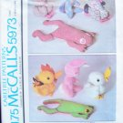 Vintage 70's McCall's 5973 Stuffed Frog Duck Rabbit Chicken Animal Sewing Pattern Uncut