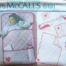 Vintage 70s McCall's 6191 Baby Accessories Pattern Uncut Quilt Bunting Bag Sham Crib Toy