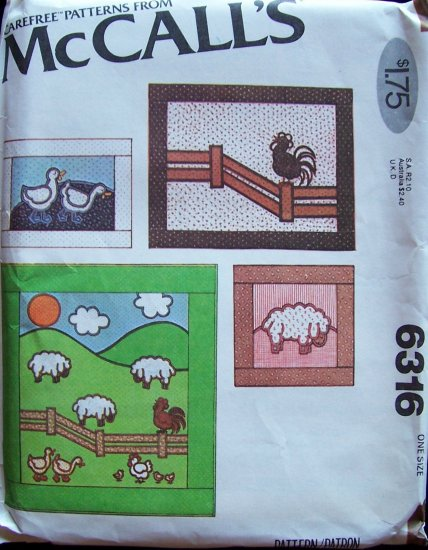 Vintage 70s McCall�s 6316 Farm Quilt Wall Hanging Pillow Pattern Sheep Rooster Ducks Chickens