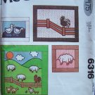 Vintage 70s McCall's 6316 Farm Quilt Wall Hanging Pillow Pattern Sheep Rooster Ducks Chickens