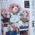 Vintage McCall's 7311 Stuffed Bear Family and Wardrobe Pattern Uncut