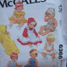 Vintage 70's McCall's 6366 Doll Wardrobe Pattern Pinafore Dress Sunsuit Bonnet Bunting Uncut