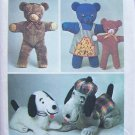 Vintage 70's Simplicity 6062 Stuffed Animal Dog  Bear and Clothing Pattern Uncut Two Sizes