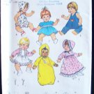 "Vintage Simplicity 7208 Medium Baby Doll Clothing Wardrobe Pattern Uncut 15"" to 16"" Dolls"
