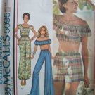 Vintage 70s McCalls 5095 Ruffled Tube Top Pants or Shorts Pattern Uncut Size 6-8