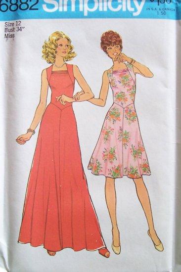 Vintage 70s simplicity 6882 square cowl neck maxi dress for Cowl neck wedding dress pattern