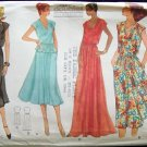 Vintage 70s Vogue 7053 Evening Dress Flared Skirt Sleeveless Top Sewing Pattern Uncut Size 10-12