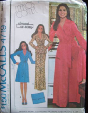 Vintage70s McCall�s 4719 Marlo�s Corner Robe Lounging Pajamas and Travel Case Pattern Uncut