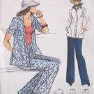 Vintage 70s Vogue 9138 Shirt Jacket Straight Leg Pants Pattern Uncut Size 14