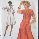 Vintage Vogue 9203 Round Neck A-Line Dress Pattern Front Zip Horizontal Seaming Uncut Size 14