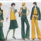 Vintage 70's Vogue 9288 Jacket Vest Flared Skirt and Pants Suit Pattern Uncut Size 14