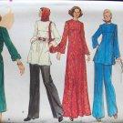 Vintage Vogue 9385 Round Neck Maxi Dress or Tunic Straight Leg Pants Pattern Uncut Size 14