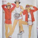 Vintage Butterick 6101 Tennis Wear T-Shirt Shorts Jacket Pattern Chrissie Evert Uncut Size 10