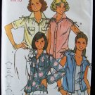Vintage Butterick 6107 Drawstring Hem Pointed Collar Top Pattern Uncut Size 10