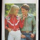 Vintage 70s Butterick 5198 Men's Yoke Front Western Shirt Pattern Uncut Size 38